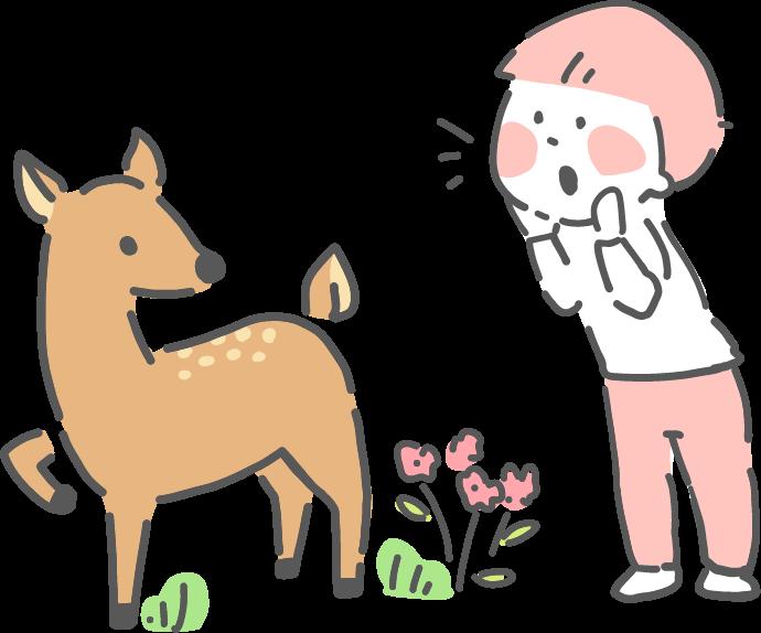 鹿と子供イラスト