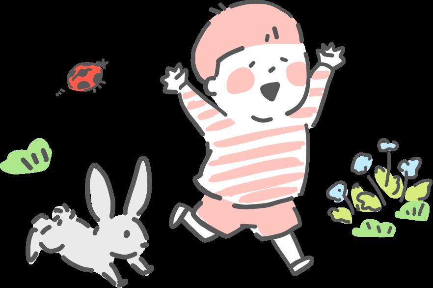 ウサギと子供イラスト