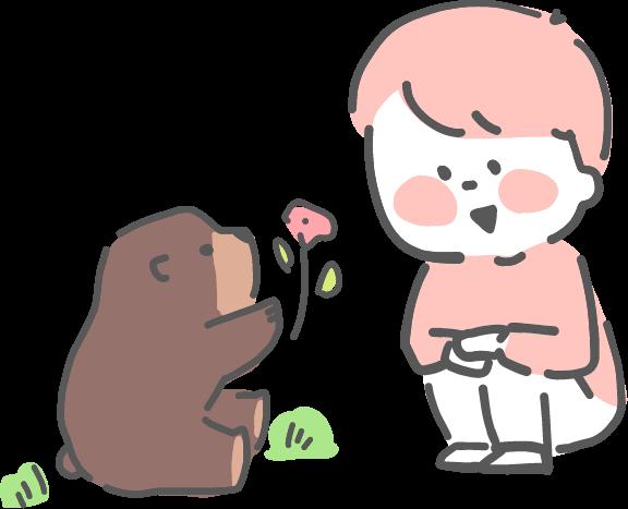 熊と子供イラスト